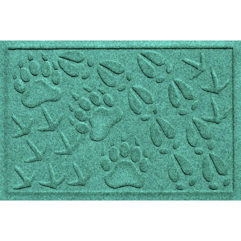Bungalow Flooring Aqua Shield Animal Tracks Aquamarine 17.5 in. x 26.5 in. Pet Mat