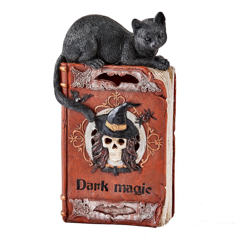 12 in. Halloween Light Up LED Black Cat on Spell Book