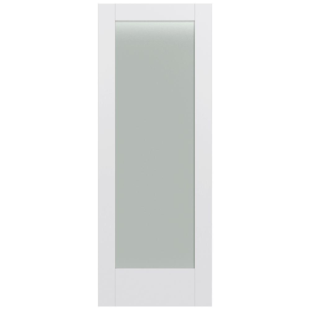 Jeld-Wen 32 in. x 80 in. Moda Primed PMT1011 Solid Core Wood Interior Door Slab w/Translucent Glass