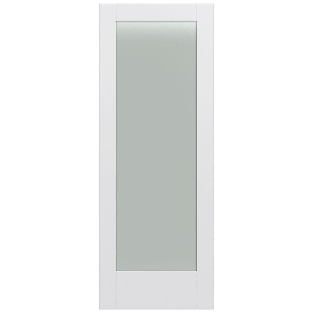 32 in. x 80 in. MODA Primed PMT1011 Solid Core Wood Interior Door Slab w/Translucent Glass