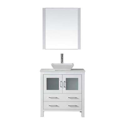 Dior 33 in. W Bath Vanity in White with Stone Vanity Top in White with Square Basin and Mirror and Faucet