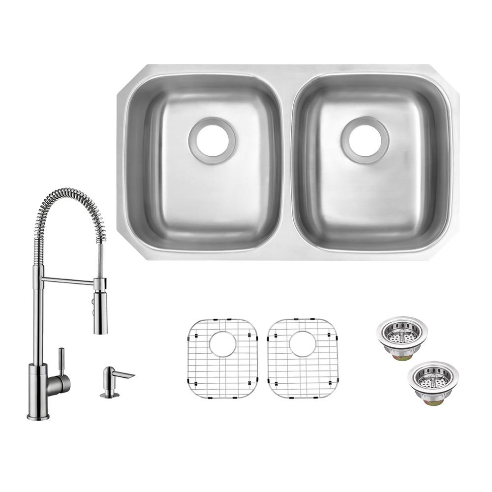 All In One Undermount 18 Gauge Stainless Steel 32 50 Double Bowl Kitchen Sink With Faucet