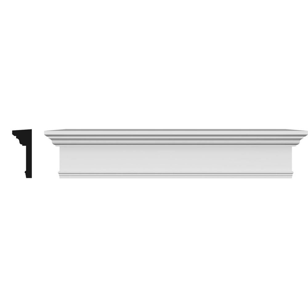 Ekena Millwork 1 in. x 92 in. x 7-1/4 in. Polyurethane Crosshead Moulding with Trim