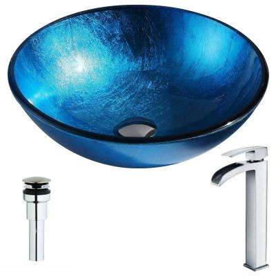 Arc Series Deco-Glass Vessel Sink in Lustrous Light Blue with Key Faucet in Polished Chrome