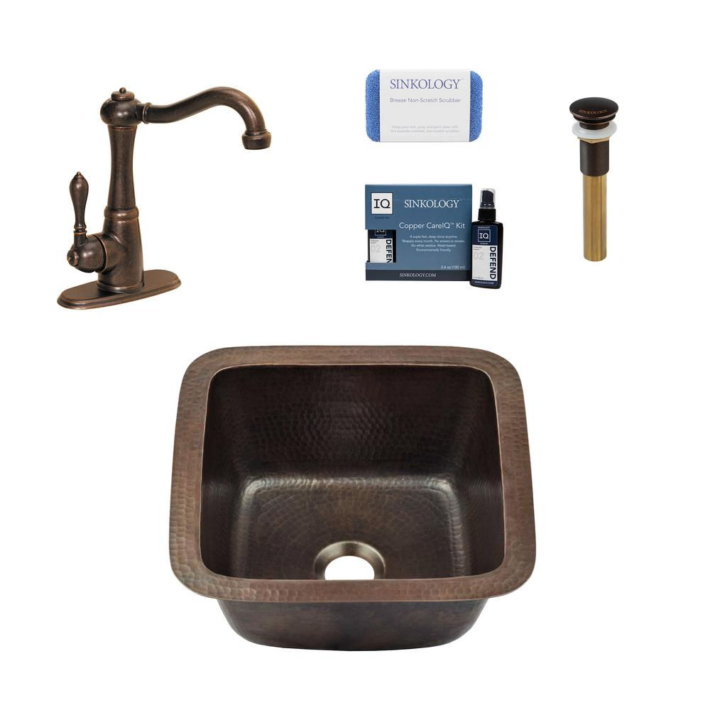 SINKOLOGY Pollock All-in-One Drop-In or Undermount Copper 12 in. Single Bowl Bar/Prep Kitchen Sink with Pfister Faucet and Drain