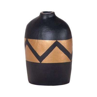Golden Wave 11 in. Terracotta Decorative Vase in Black and Gold