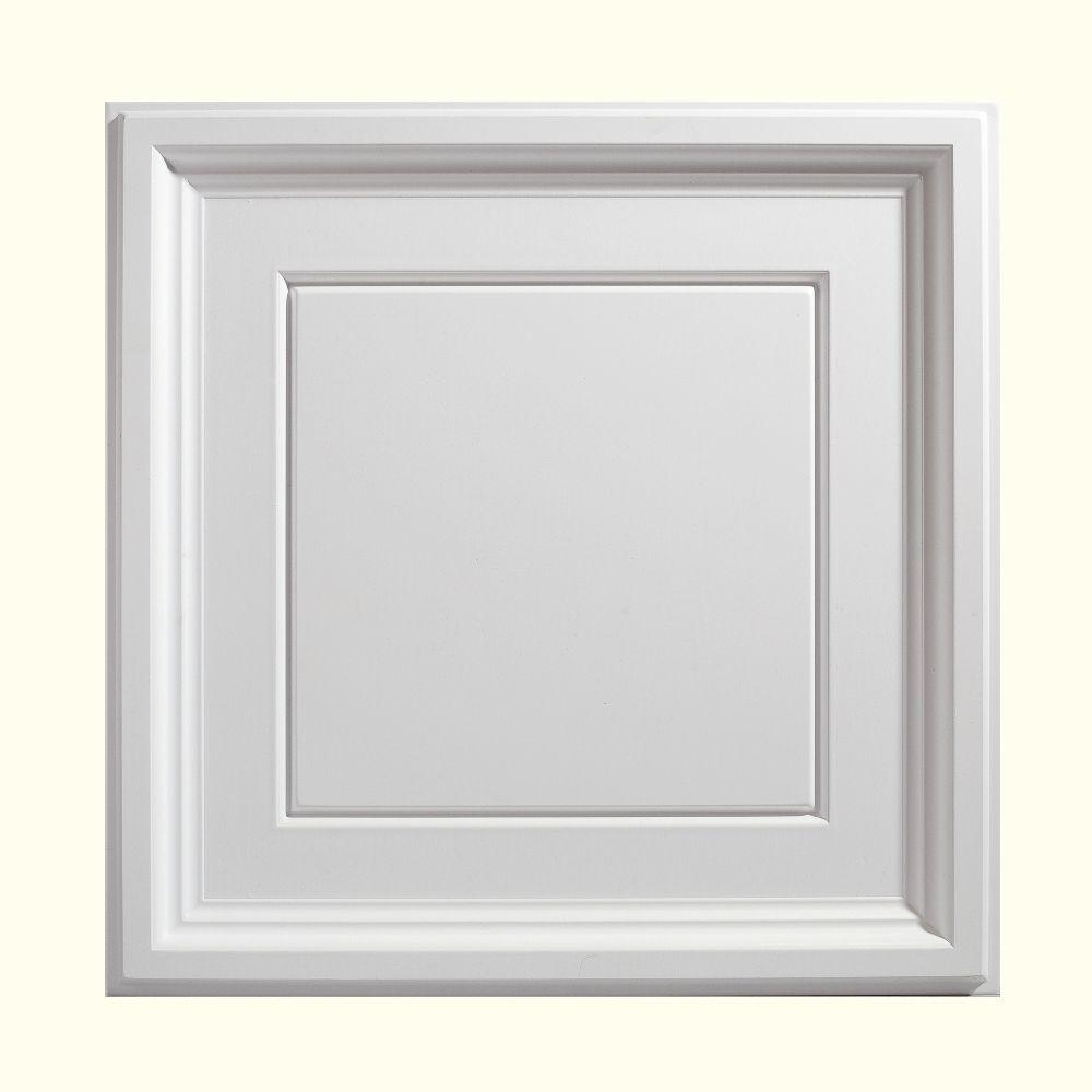 Genesis 2 ft x 2 ft icon coffer white ceiling tile 753 for Foam coffered ceiling