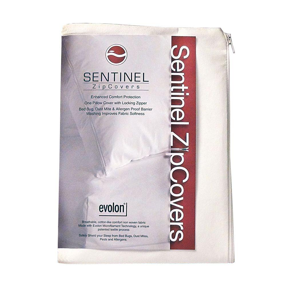 Sentinel King - Evolon Zippered Allergy Pillow Protector - Dust Mite, Bed Bug, and Allergen Proof Encasement