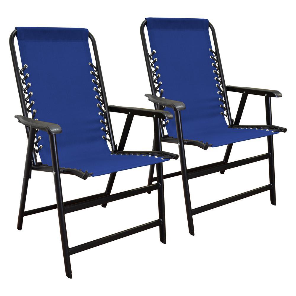 Caravan Sports Suspension Blue Folding Chair (2-Pack)
