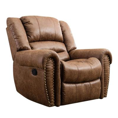 Camel Classic in Nut Brown with Overstuffed Arms and Back Leather Recliner Chair