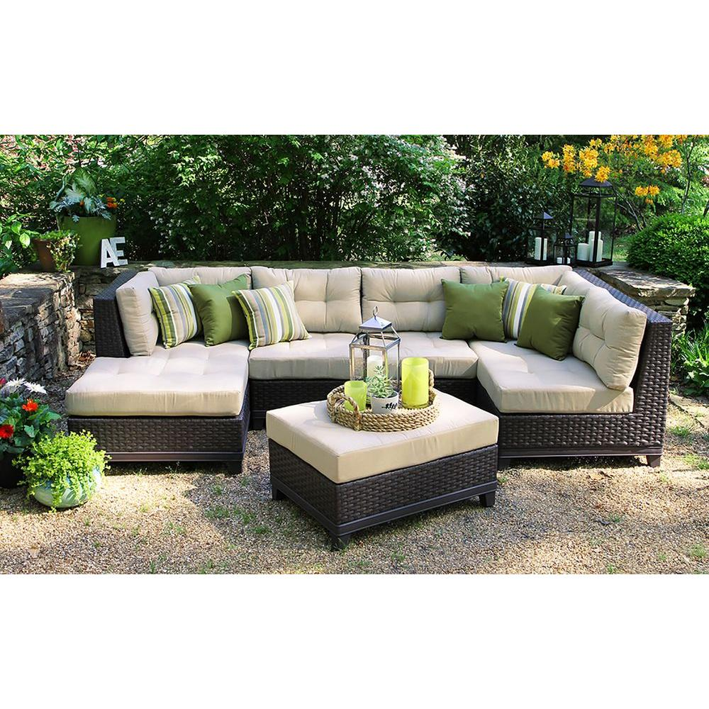 ae outdoor hillborough 4 piece all weather wicker patio sectional with sunbrella fabric. Black Bedroom Furniture Sets. Home Design Ideas