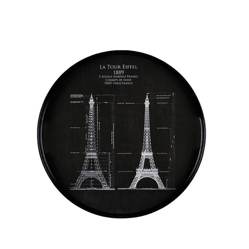 Vintage Drawings Eiffel Towel Round Tray
