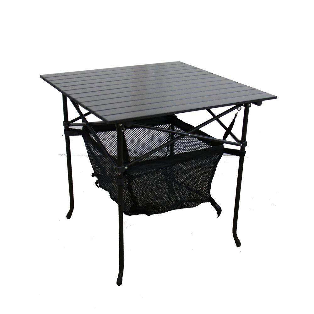 27.25 in. Aluminum Roll Slate Graphite Grey Adult Table with Storage