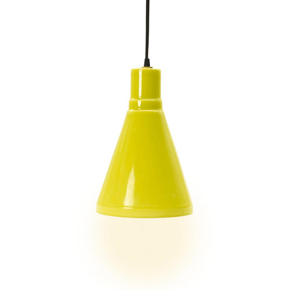 Fangio Lighting 1-Light 13 In. Lime Ceramic Pendant With