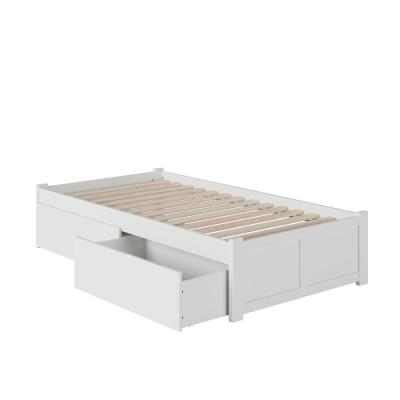 Concord White Twin Platform Bed with Flat Panel Foot Board and 2-Urban Bed Drawers
