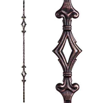 Tuscan Square Hammered 44 in. x 0.5625 in. Oil Rubbed Bronze Double Diamond Solid Wrought Iron Baluster