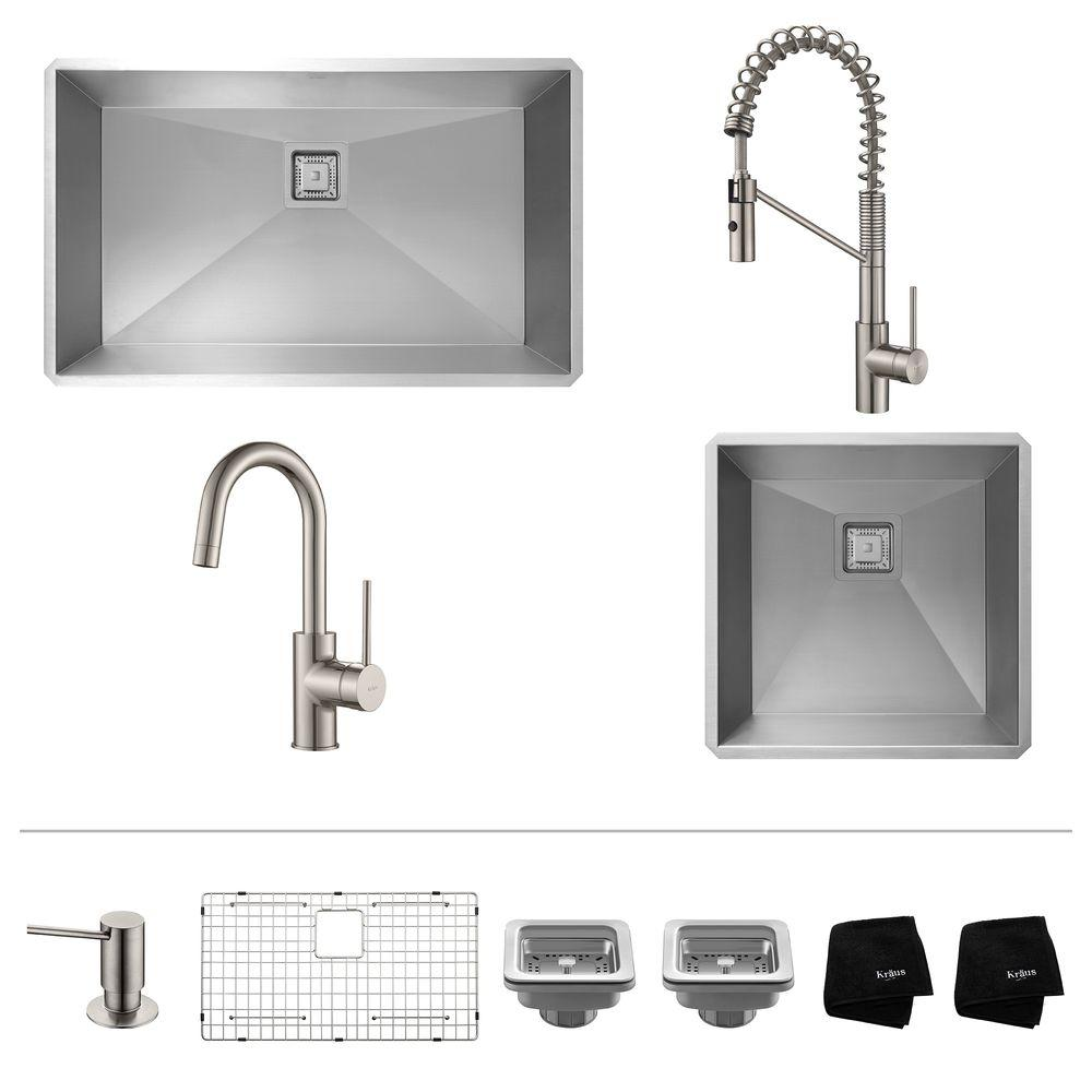 KRAUS Pax All In One 2 Undermount Stainless Steel Sinks With Oletto Pull  Down
