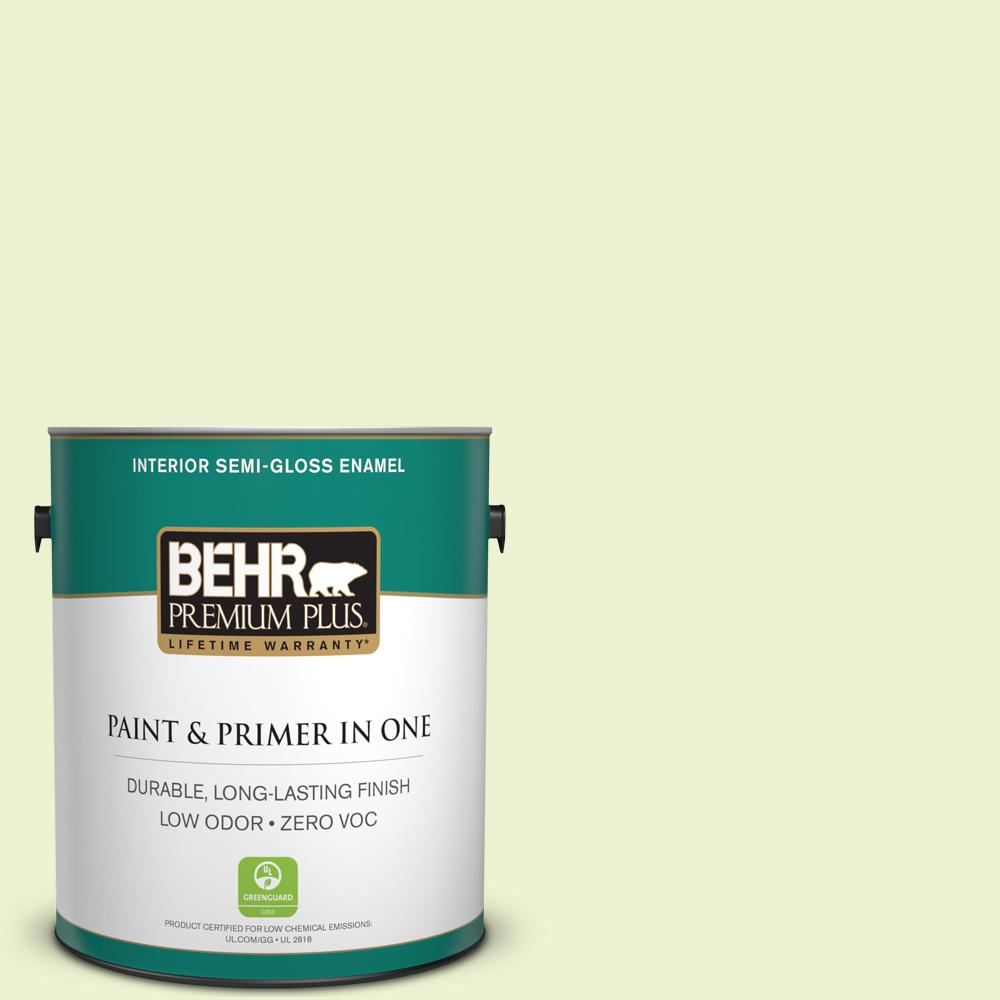 1-gal. #420A-1 Green Shimmer Zero VOC Semi-Gloss Enamel Interior Paint