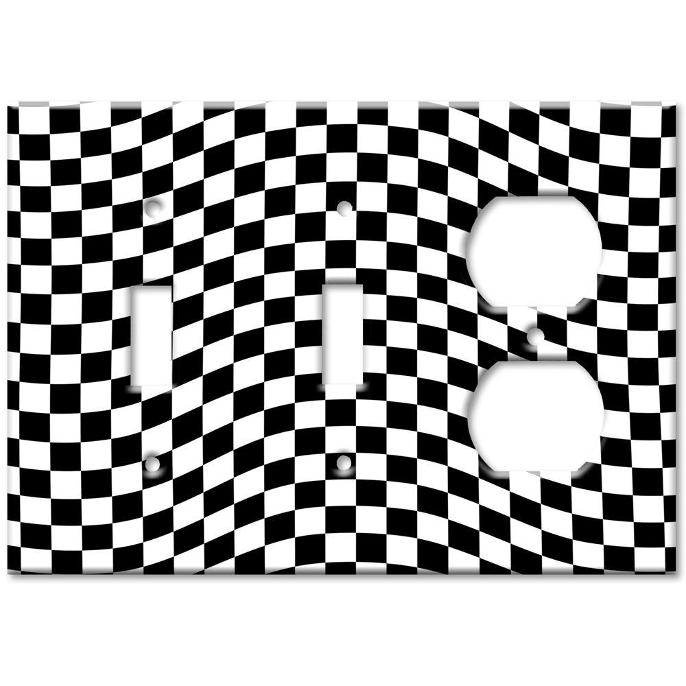 Art Plates Checkered Racing Flag 2 Switch/Outlet Combo Wall Plate