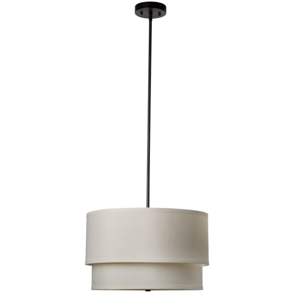 Hampton Bay Eagan 3 Light Oil Rubbed Bronze Drum Pendant With Double Khaki Shade