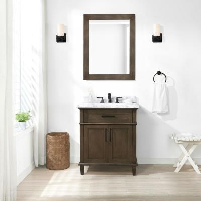 Sonoma 30 in. W x 22 in. D Bath Vanity in Almond Latte with Carrara Marble Vanity Top in White with White Basin