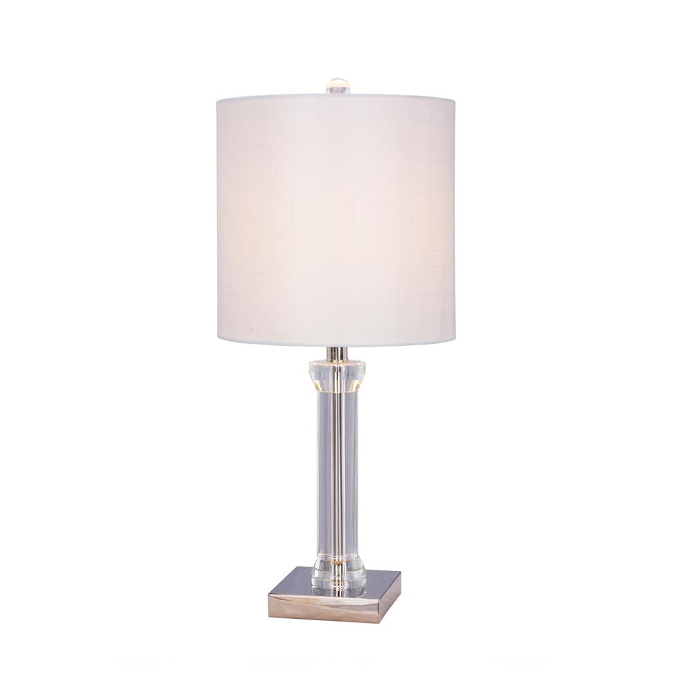 25.5 in. Clear Crystal and Polished Nickel Metal Table Lamp with