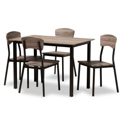 Marcus 5-Piece Black and Oak Dining Set