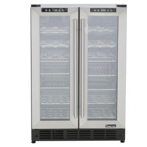 Click here to buy Magic Chef Dual Zone 23.4 inch 42-Bottle 114 Can Wine and Beverage Cooler by Magic Chef.