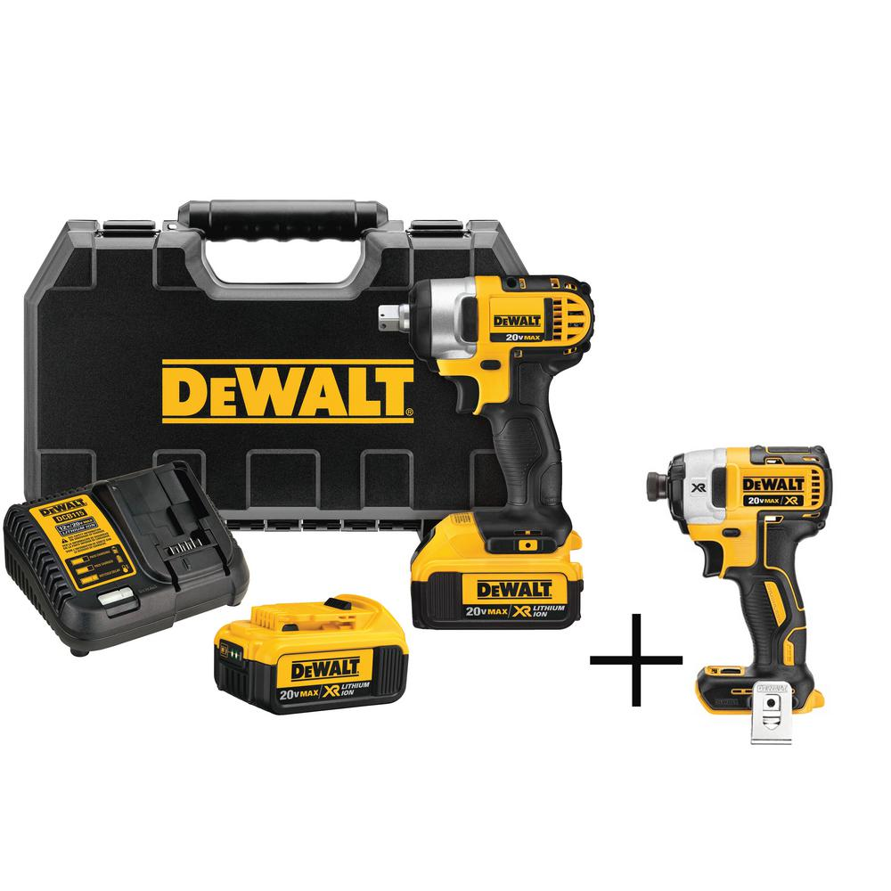 DEWALT 20-Volt MAX Lithium-Ion Cordless 1/2 in. Impact Wrench Kit with 2 Batteries 4 Ah Charger and Case, Free Impact Driver