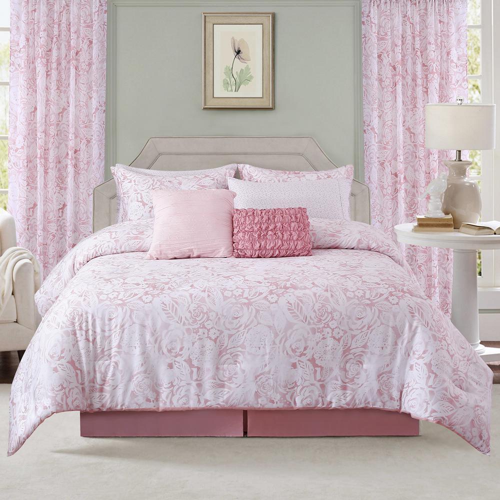 Sara B. Blushing Rose 4-Piece Full/Queen Comforter Set SBCFBLUS5