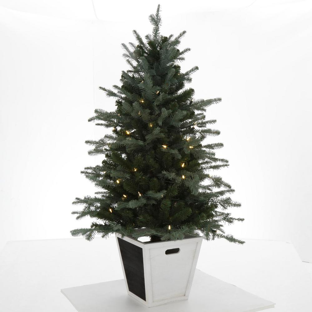 Balsam Christmas Trees.Home Accents Holiday 4 Ft Pre Lit Balsam Artificial Christmas Porch Tree With Battery Operated Warm White Led Light And Wood Pot