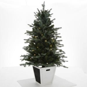 Gray Christmas Tree.Home Accents Holiday 4 Ft Pre Lit Balsam Artificial Christmas Porch Tree With Battery Operated Warm White Led Light And Wood Pot Brho710008th2 The