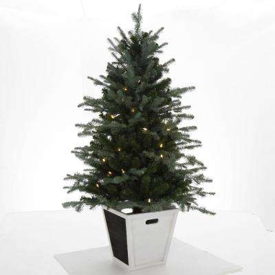 4 ft. Pre-Lit Balsam Artificial Christmas Porch Tree with Battery Operated Warm White LED light and Wood Pot