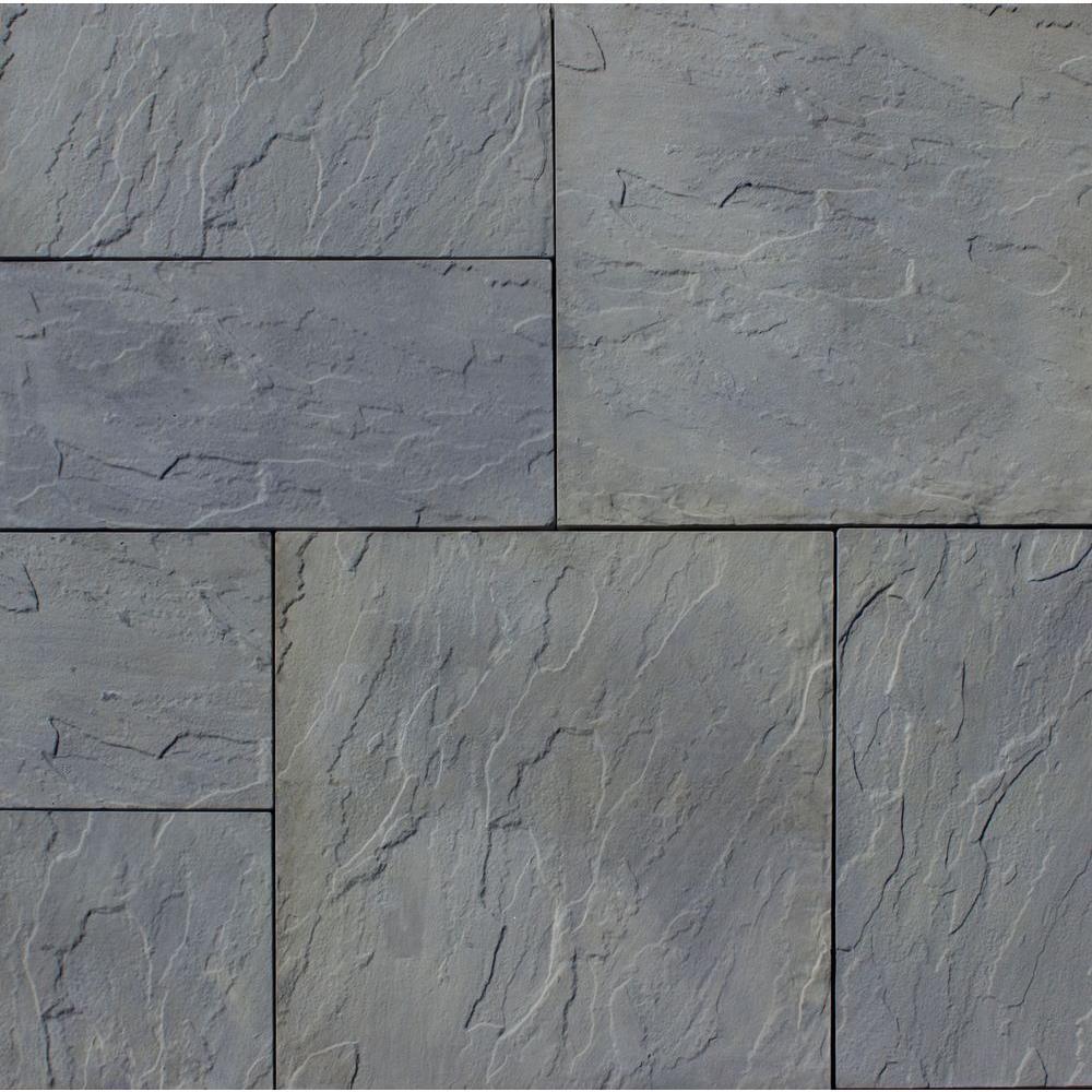 Patio-on-a-Pallet 12 in. x 24 in. and 24 in. x 24 in., 48 sq. ft. Concrete Gray Variegated Basketweave York-Stone Pavers