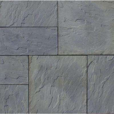 Patio-on-a-Pallet 12 in. x 24 in. and 24 in. x 24 in., 48 sq. ft. Concrete Gray Variegated Basketweave York-Stone Pavers