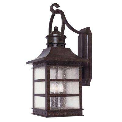 3-Light Wall Mount Lantern Rustic Bronze Finish Pale Cream Textured Glass