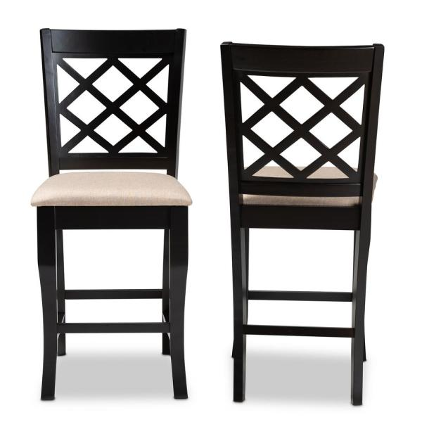 Alora 43 in. Sand and Espresso Counter Stool (Set of 2)