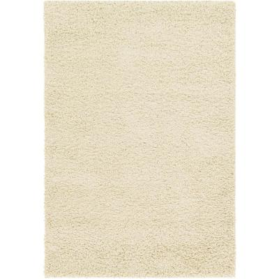 Solid Shag Pure Ivory 4 ft. x 6 ft. Area Rug