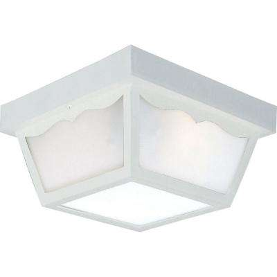 2-Light White Outdoor Flushmount