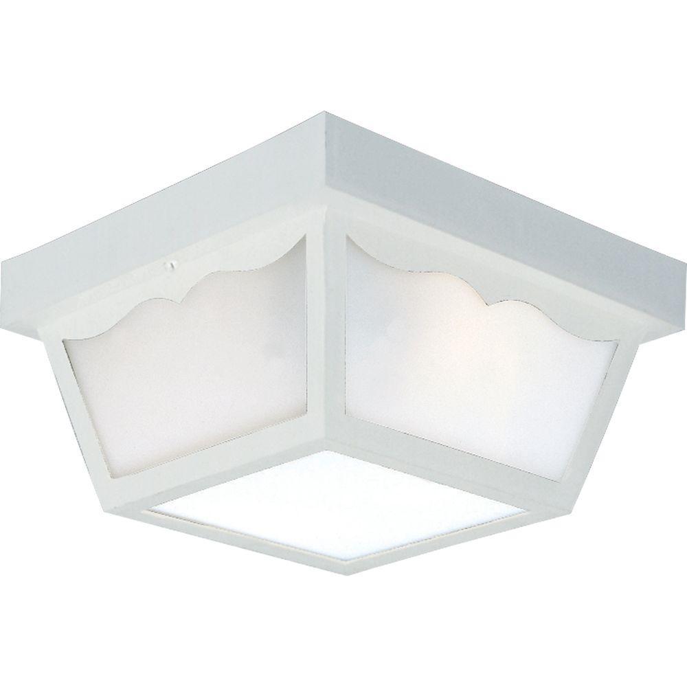 2-Light White Outdoor Flushmount