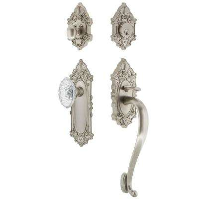 Victorian Plate 2-3/4 in. Backset Satin Nickel S Grip Handleset Crystal Victorian Door Knob