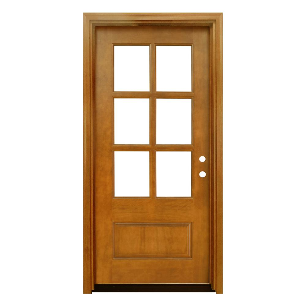 Steves & Sons 36 in. x 80 in. Craftsman Savannah 6 Lite Left-Hand Inswing Autumn Wheat Mahogany Wood Prehung Front Door