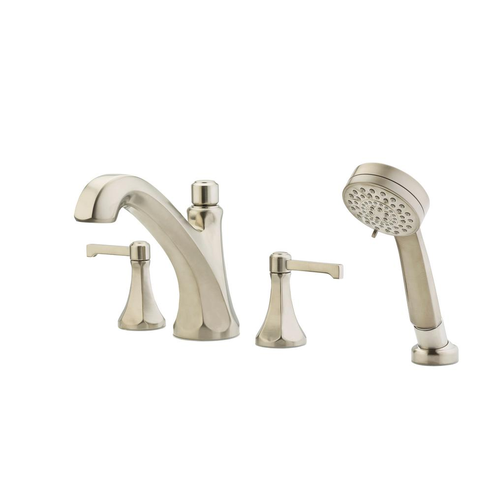 Pfister Arterra 2-Handle Deck Mount Roman Tub Faucet Trim Kit with Handshower Shower in Brushed Nickel (Valve Not Included) Pfister Arterra 2-Handle Deck Mount Roman Tub Faucet Trim Kit with Handshower Shower in Brushed Nickel (Valve Not Included) Size: 9.45 In..