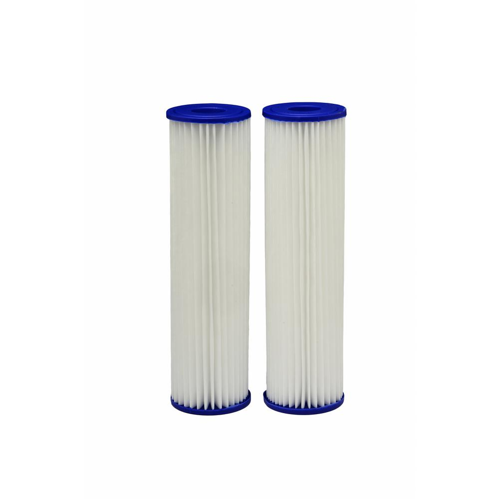 EcoPure Universal Fit Pleated Whole House Water Filter (2-Pack) - Fits Most Major Brand Systems