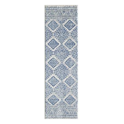 HomeRoots Bernadette Ivory/Blue 9 ft. x 12 ft. Abstract Polypropylene Area Rug
