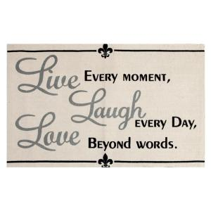 Chesapeake Merchandising Live, Laugh, Love Printed Typography Cotton Natural 2 ft. x 3 ft. Accent Rug by Chesapeake Merchandising