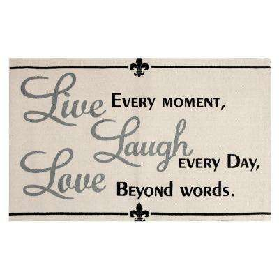 Live, Laugh, Love Printed Typography Cotton Natural 2 ft. x 3 ft. Area Rug