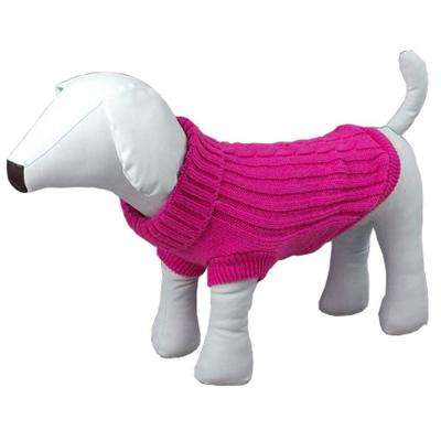 Small Pink Heavy Knit Rib-Collared Dog Sweater