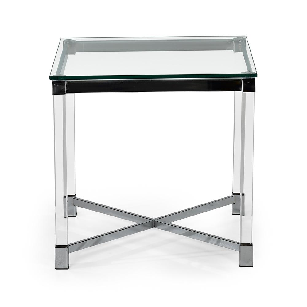 Superieur Talia Glass And Chrome End Table