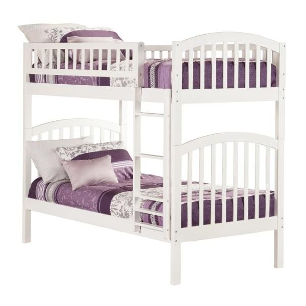 Atlantic Furniture Richland White Twin Over Twin Bunk Bed